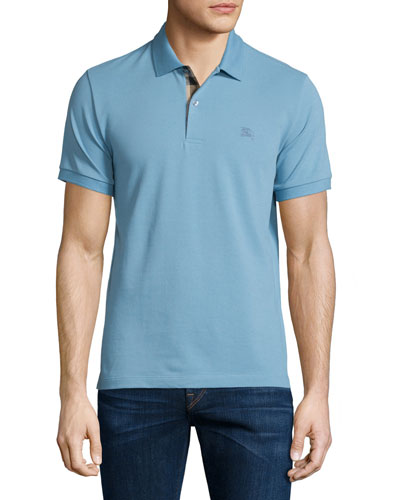 Short-Sleeve Oxford Polo Shirt, Pale Blue