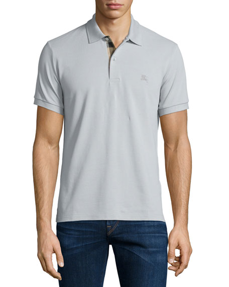 Burberry BritShort-Sleeve Oxford Polo Shirt, Pale Gray