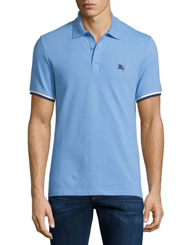Contrast-Cuffs Short-Sleeve Pique Polo Shirt, Hydrangea Blue