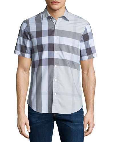 Exploded Check Short-Sleeve Twill Shirt, Pale Stone