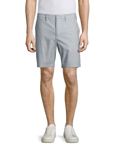 Tailored-Fit Micro-Stripe Cotton Shorts, Navy
