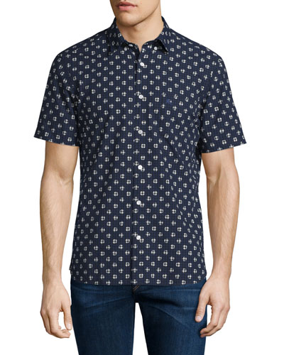Dot-Print Over Gingham Short-Sleeve Shirt, Navy