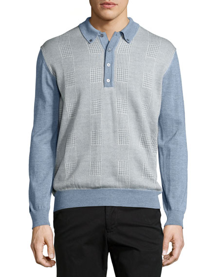 Robert Talbott Long-Sleeve Polo Sweater, Cadet