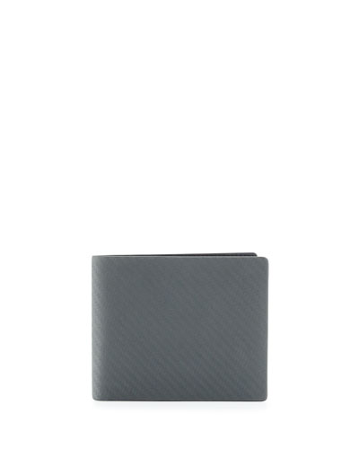 Chassis Textured Leather Bi-Fold Wallet, Gray