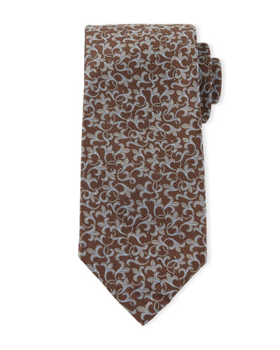 Scroll-Print Sevenforld Tie, Blue/Brown