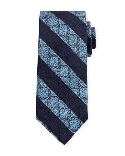 Medallion-Print Silk Estate Tie, Blue
