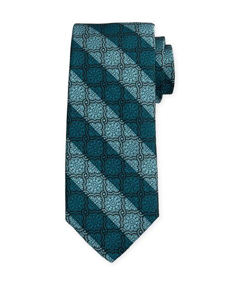 Medallion-Print Silk Estate Tie, Teal