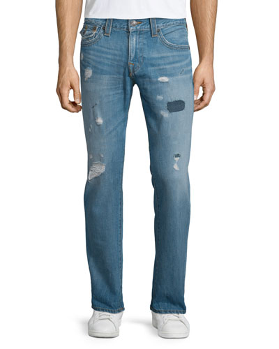 Geno Triple-Needle Distressed Denim Jeans, Main Stage