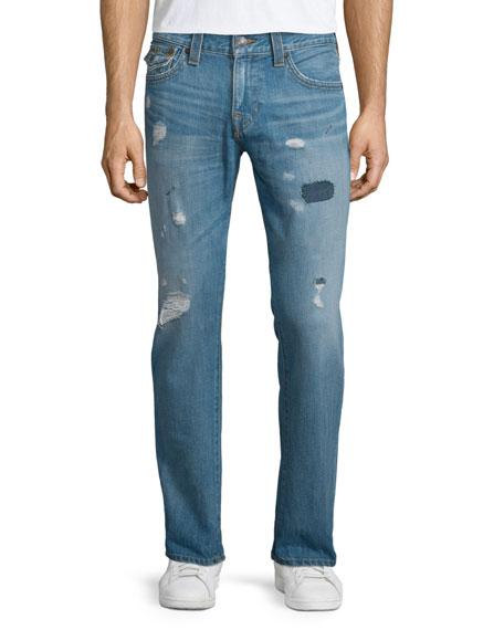 True Religion Geno Triple-Needle Distressed Denim Jeans, Main Stage