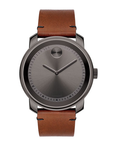 42mm Large Bold Watch with Leather Strap