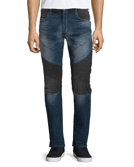True Religion Rocco Two-Tone Moto Jeans, Borough