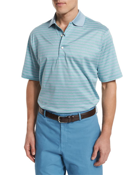 Peter millar charlie striped short sleeve polo shirt blue for Peter millar polo shirts