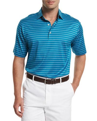Masked Stripe Short-Sleeve Polo Shirt, Emerald