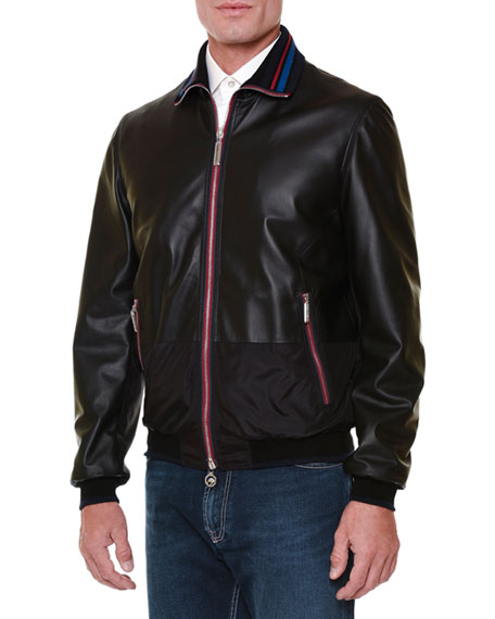 Stefano Ricci Leather Bomber Jacket with Tipped Trim,