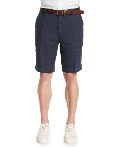 Flat-Front Linen Shorts, Ocean