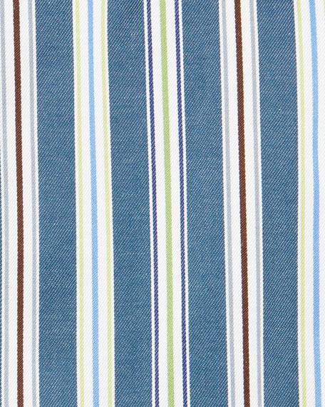 Striped Woven Dress Shirt, Teal