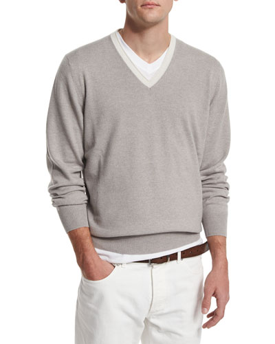 Contrast-Collar Cashmere Sweater, Dove