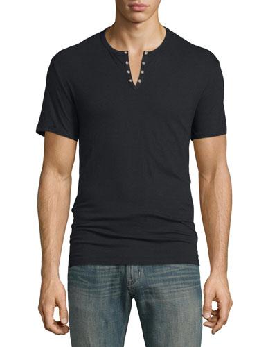 Short-Sleeve Henley Tee, Black