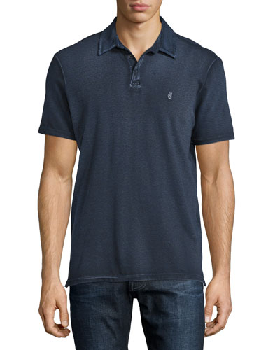Garment-Wash Peace Polo Shirt, Marine