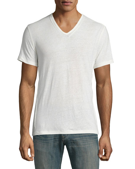 John Varvatos Star USA Pintuck-Seam V-Neck Short-Sleeve T-Shirt, Salt