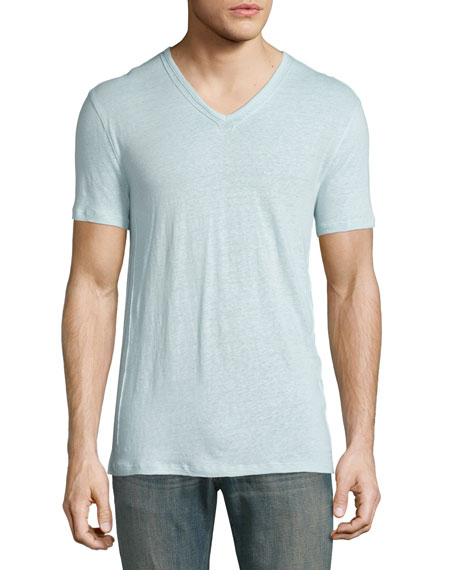 John Varvatos Star USA Pintuck-Seam V-Neck Short-Sleeve T-Shirt,