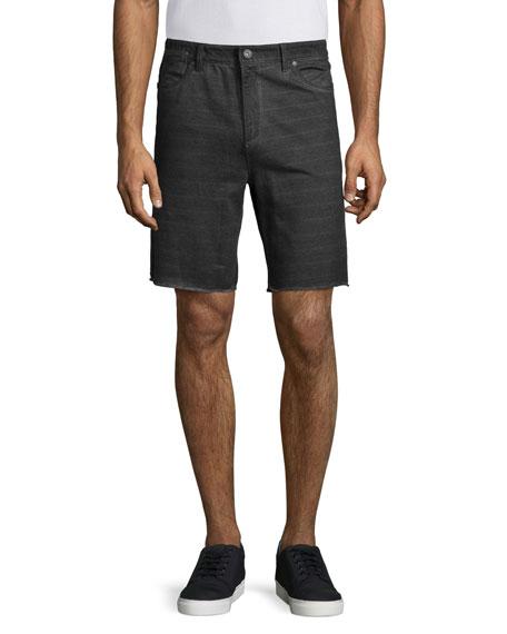 John Varvatos Star USA Tonal-Striped Twill Shorts, Pewter