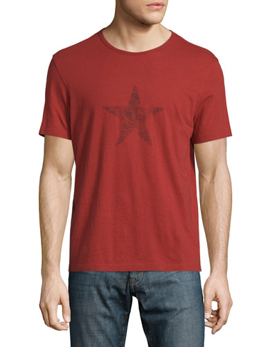 Faded Star-Graphic Short-Sleeve Tee, Red Clay