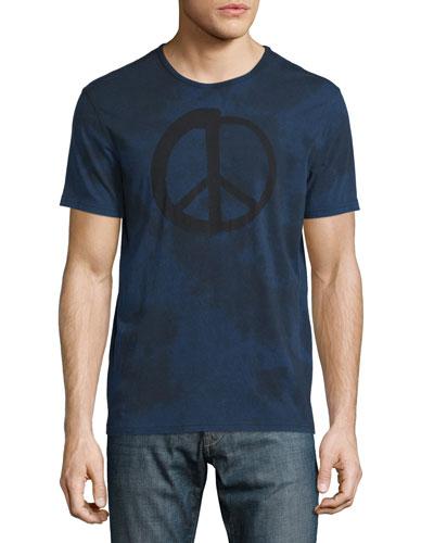 Tie-Dye Peace Sign Graphic Short-Sleeve Tee, Indigo