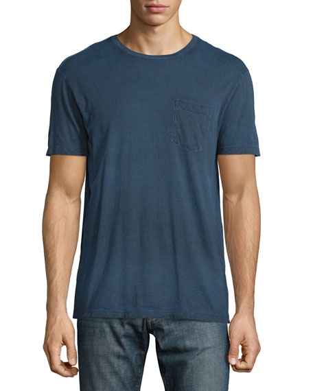 John Varvatos Star USA Cold-Dye Short-Sleeve Pocket T-Shirt, Dark Navy