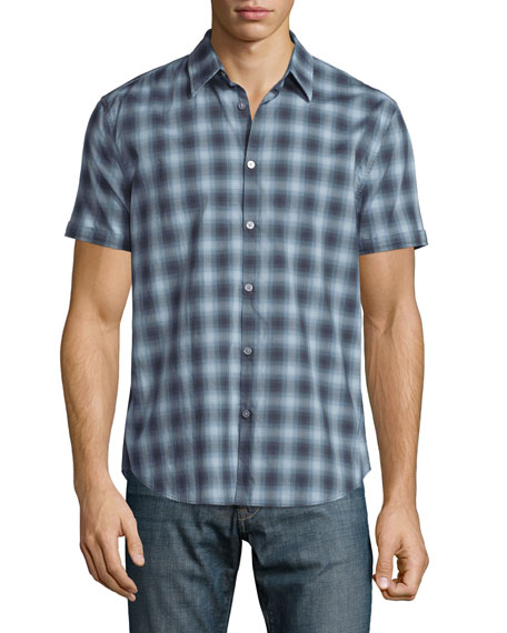 John Varvatos Star USA Plaid Short-Sleeve Shirt, Ocean