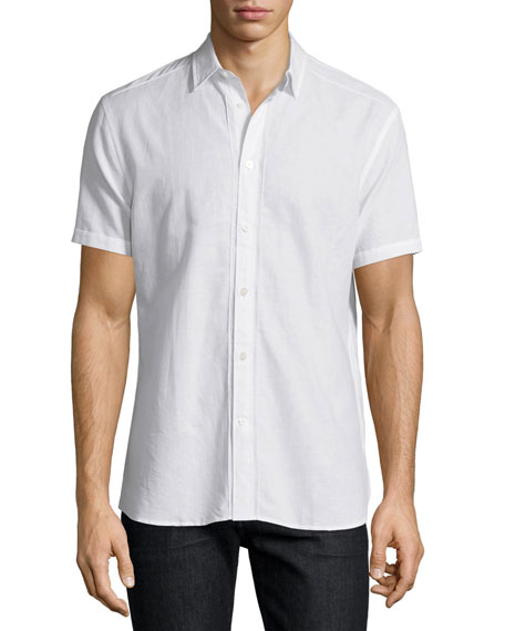 John Varvatos Star USA Linen-Blend Short-Sleeve Shirt, White