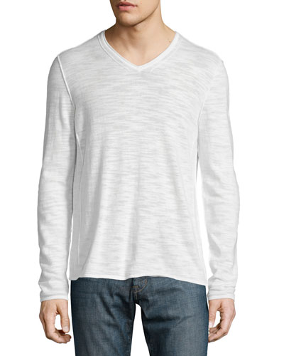 V-Neck Long-Sleeve Sweater with Pintuck Detail, Ivory