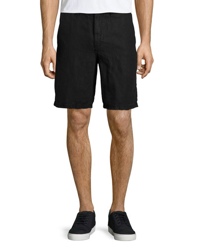 Triple-Needle Linen Shorts, Black