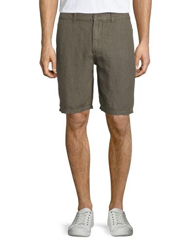 Triple-Needle Linen Shorts, Olive