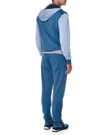 Colorblock Zip-Up Hooded Track Jacket, Blue