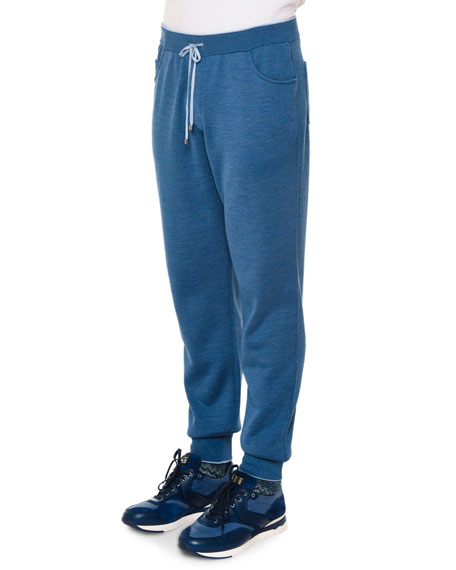 Stefano Ricci Drawstring Knit Sweatpants, Blue