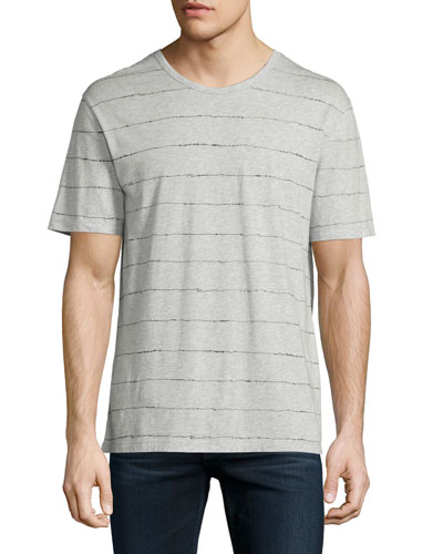 Scribble-Stripe Short-Sleeve T-Shirt, Heather Gray