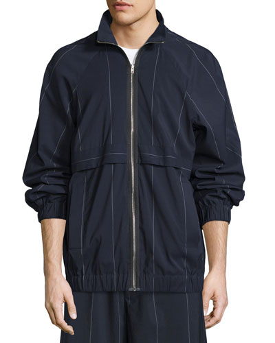 Pinstripe Raglan-Sleeve Track Jacket, Midnight