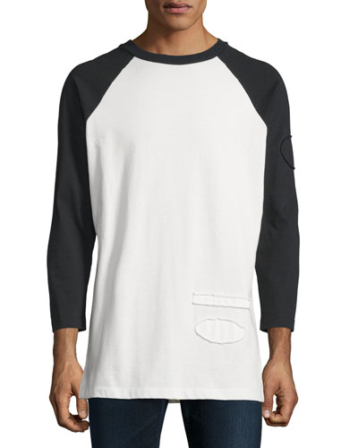 Long-Sleeve Baseball T-Shirt with Raw-Edge Trim, Matrix
