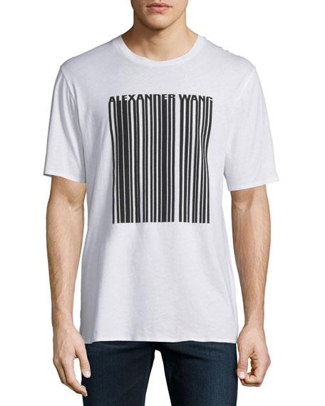 Alexander Wang Barcode Logo Short-Sleeve T-Shirt, White
