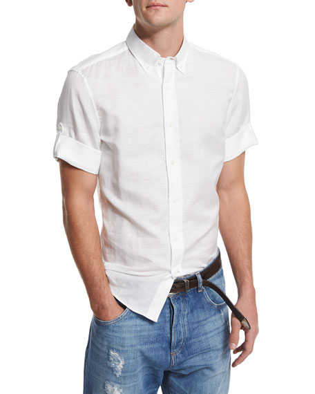 Brunello Cucinelli Solid Short-Sleeve Sport Shirt, White