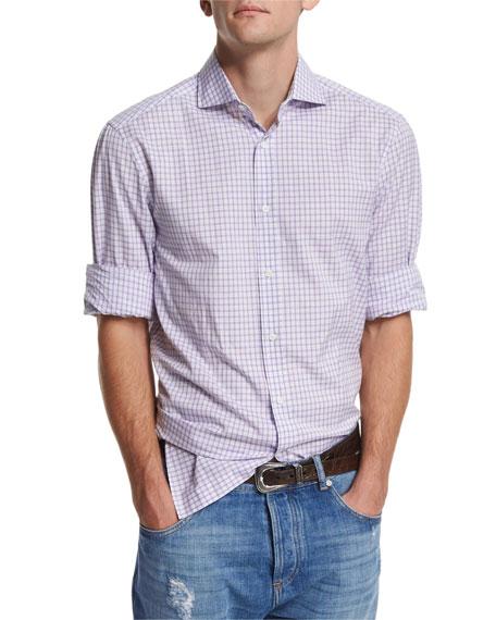 Brunello Cucinelli Check Woven Sport Shirt, Purple
