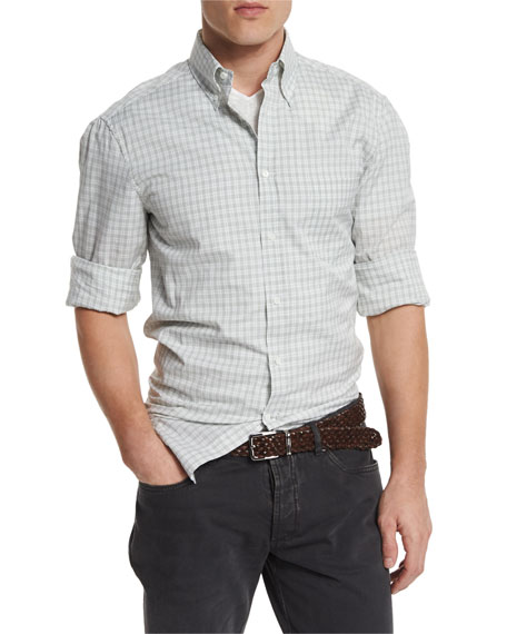 Brunello Cucinelli Check Woven Sport Shirt, Green