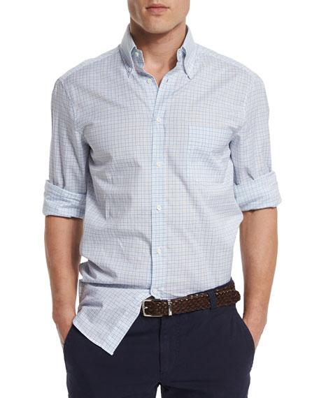 Brunello Cucinelli Check Long-Sleeve Sport Shirt, Navy