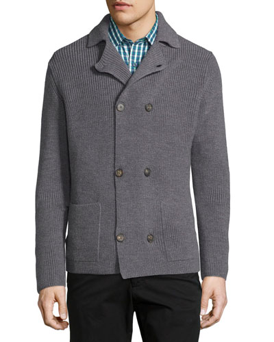 Double-Breasted Peacoat Sweater Jacket, Graphite