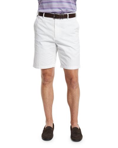 Winston Washed-Twill Shorts, White