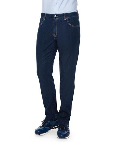 Contrast-Stitch Five-Pocket Denim Jeans, Blue