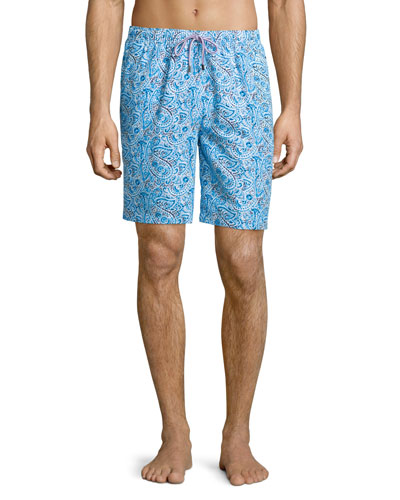 Inca Paisley-Print Swim Shorts, Light Blue
