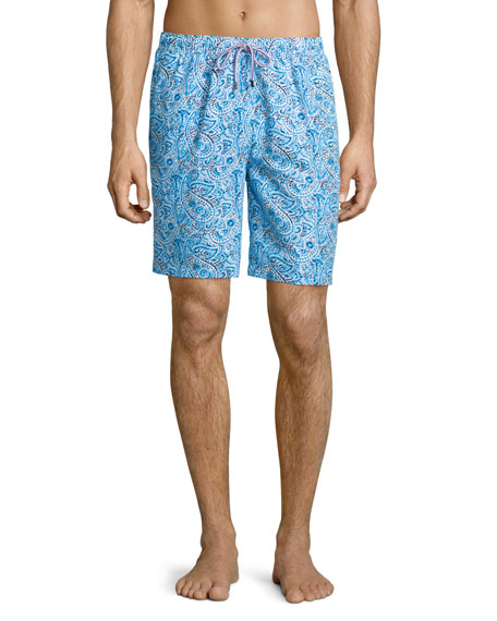 Peter MillarInca Paisley-Print Swim Shorts, Light Blue