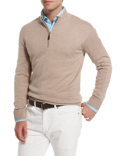 Cotton-Cashmere Quarter-Zip Sweater, Flax